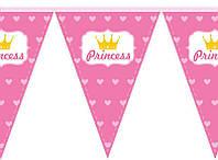 Паперова гірлянда рожевий принт princess