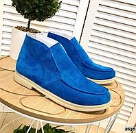 Замшевые туфли на низком ходу 37,39 р голубой, фото 1