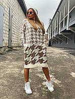 Вязаное платье свободное прямое с принтом гусиная лапка 18031006, фото 1