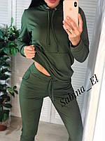 Женский спортивный костюм из двухнитки с худи и зауженными штанами на манжетах 705877