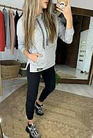 Женский спортивный костюм с зауженными штанами и прямым худи с капюшоном 5205880