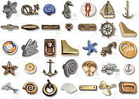 Ручки, накладки, декоративные элементы, морская коллекция