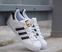 Adidas Superstar white black Мужские кроссовки Адидас Суперстар бело-черные