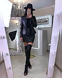 Черный кожаный юбочный костюм с пиджаком и короткой юбкой 2010557, фото 2