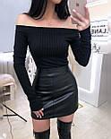 Черный кожаный юбочный костюм с пиджаком и короткой юбкой 2010557, фото 3