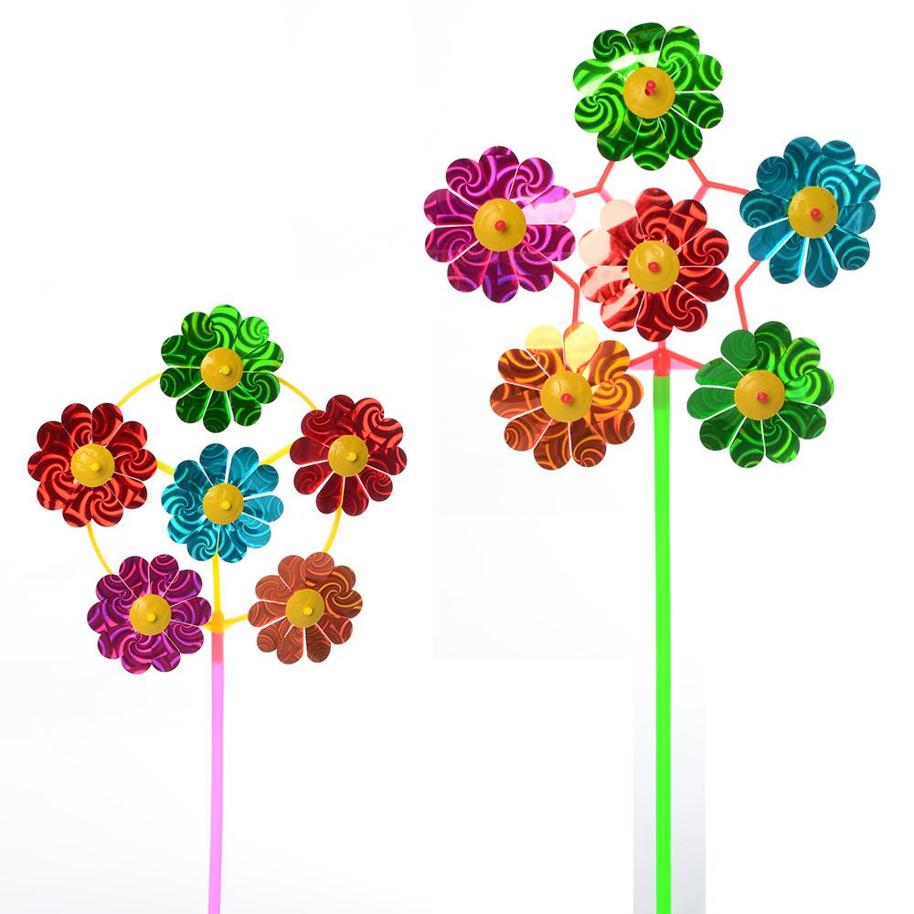 """Ветрячок """"Цветок"""", на палочке, фольга, 2 вида, M6235"""