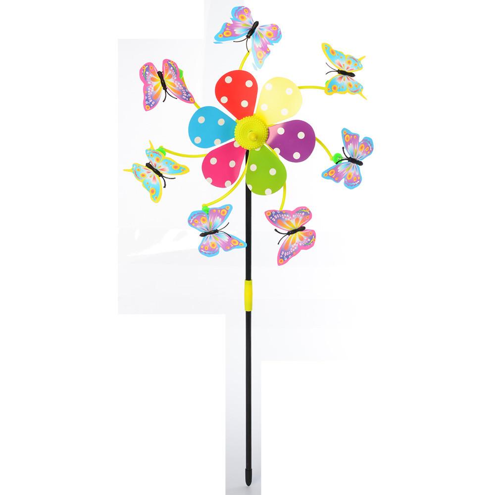 """Ветрячок """"Цветок, бабочки"""", на палочке, M6239"""