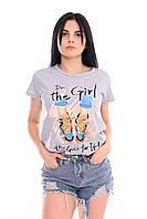 Женская стильная футболка с ярким принтом, хлопок.  В наличии S,L