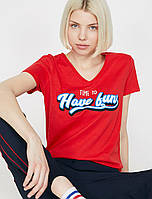 Женская футболка v-образный вырез красная KOTON 18782