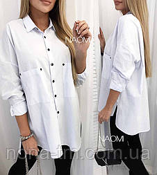 Жіноча сорочка-стильна туніка білого кольору, на гудзиках з довгим рукавом (Норма)