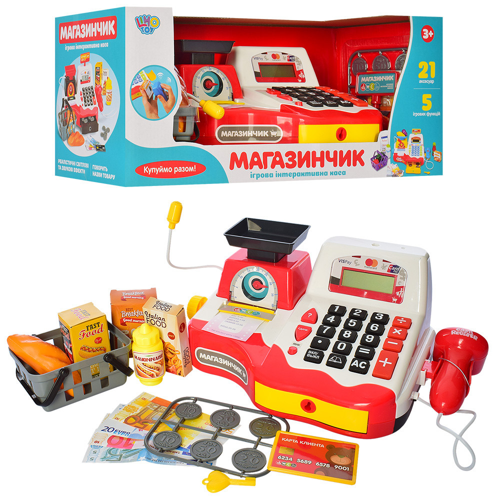 Кассовый аппарат LimoToy, микрофон, весы, калькулятор, сканер, продукты, звук, 7162-1RU