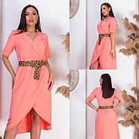 Женское ассиметричное платье под пояс 1(48-50);2(52-54);3(56-58)