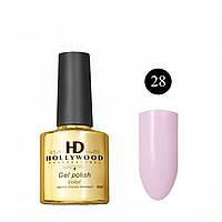 Гель лак 28 Нежный Бело-Розовый Плотный Гель-лаки  HD Hollywood