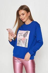 Молодежный женский свитшот с принтом трикотажный