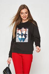 Женский модный свитшот с принтом трикотажный