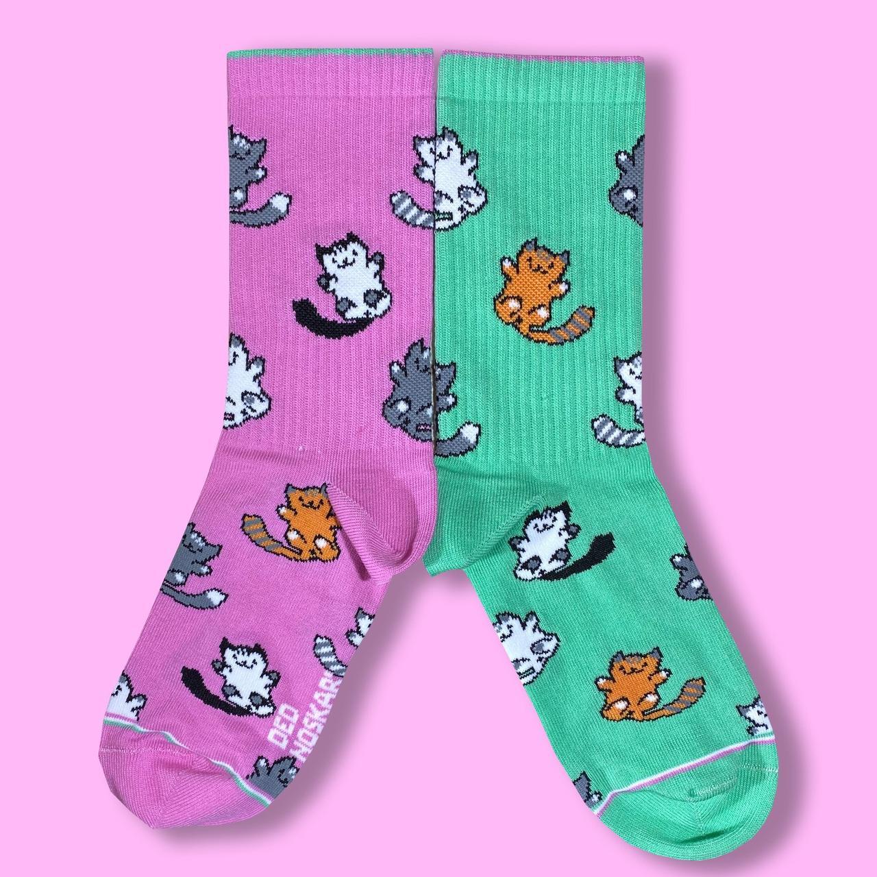 """Шкарпетки з високоякісної бавовни з оригінальним принтом """"Котики"""" 41-45"""