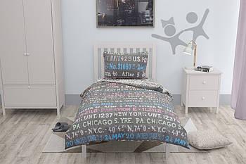 Односпальный комплект постельного белья из натурального хлопка Halftones Меридиан Ранфорс (HT683)