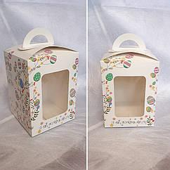 Коробка для пасхи с окошком 14х14х19см с  принтом