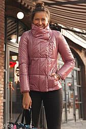Легкая куртка с блеском на экологически чистом утеплителе пудровая