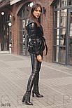 Легкая стеганая куртка на запах из экокожи с силиконовым наполнителем черная, фото 2