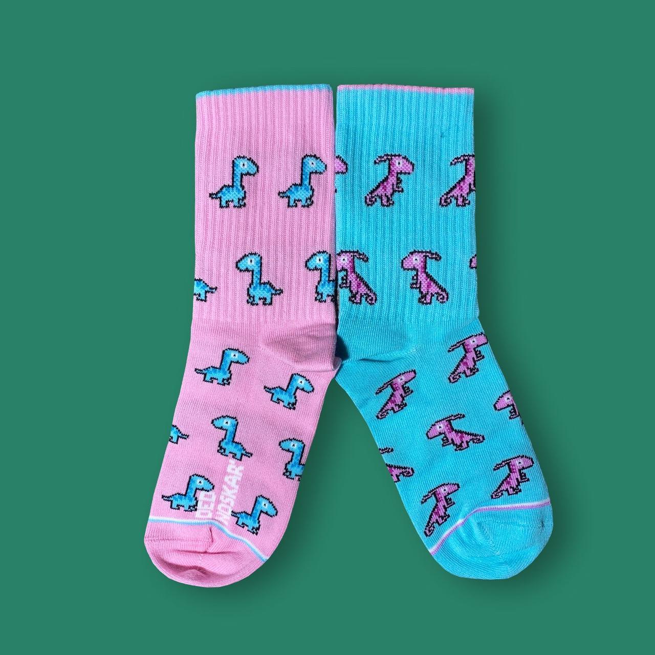 """Носки детские из высококачественного хлопка с оригинальным принтом """"Dino"""""""