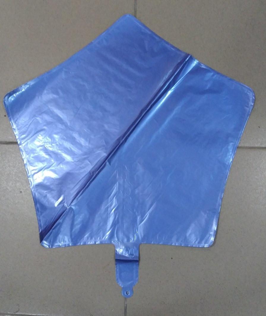 Звезда фольгированная синяя хром 45 см