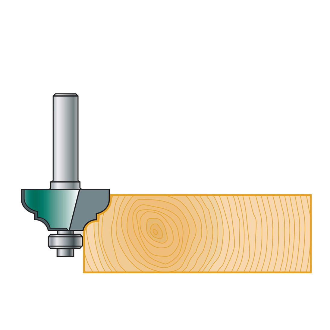 """Фреза калевочная Stehle """"классический профиль"""" с нижним подшипником для ручного фрезера,  37х17х47х8, z=2, R=6"""