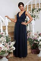 Шикарное вечернее платье с открытой спинкой. Синий, 2 цвета. Р-ры: 42, 44, 46, 48.