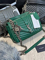 Модная женская сумочка Saint Laurent  зеленая натуральная кожа  (реплика), фото 1