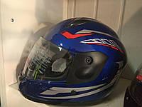 Шлем F2 интеграл детский синий с красной полосой