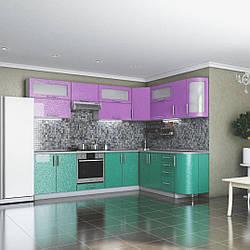 Кухня Гламур мдф аквамарин металлик/сакура металлик