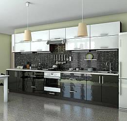 Кухня Гламур мдф белый глянец/черный глянец