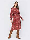 Расклешенное платье  длиной миди в мелкий цветочный принт, фото 4