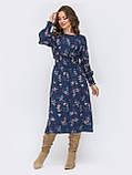 Расклешенное платье  длиной миди в мелкий цветочный принт, фото 7