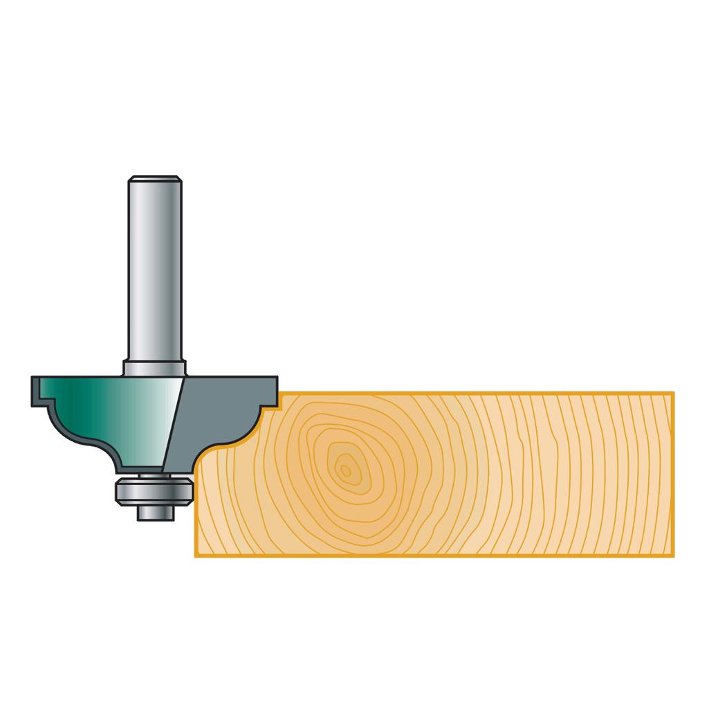 Фреза калевочная Stehle S-профиль с нижним подшипником для ручного фрезера, 37х17х47х8, z=2, R=6