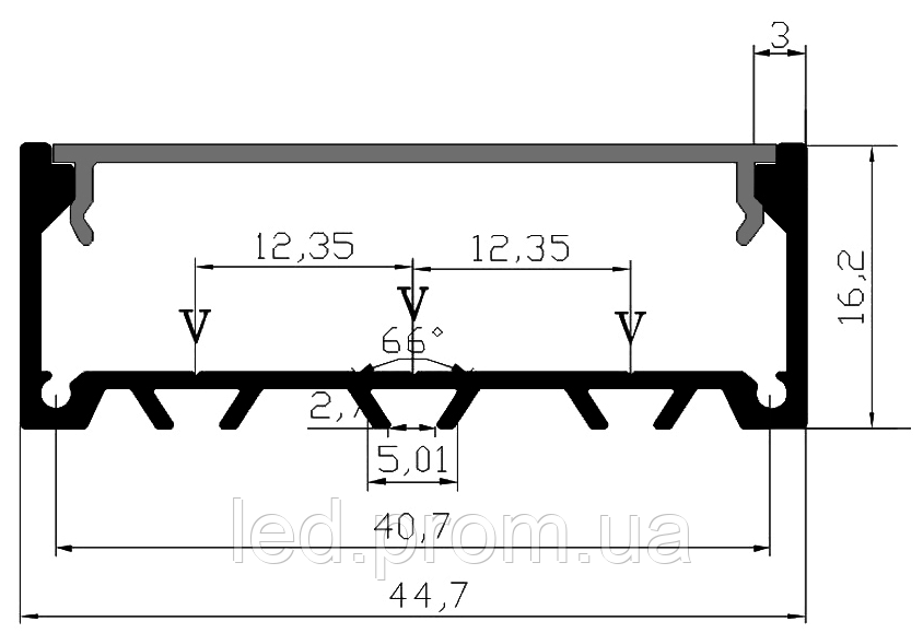 LED-профиль накладной LS4516 (2 метра)