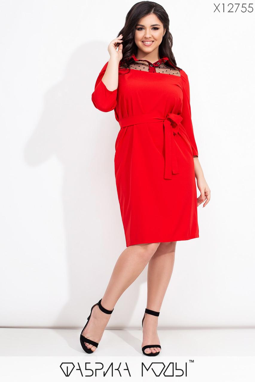 Приталенное платье в больших размерах с поясом и вставкой сетки на груди 1ba605