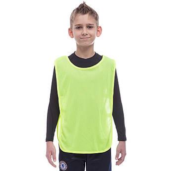 Манишка для футбола юниорская с резинкой (сетка) (PL, S-58x36+13см) Салатовый PZ-CO-1675_1