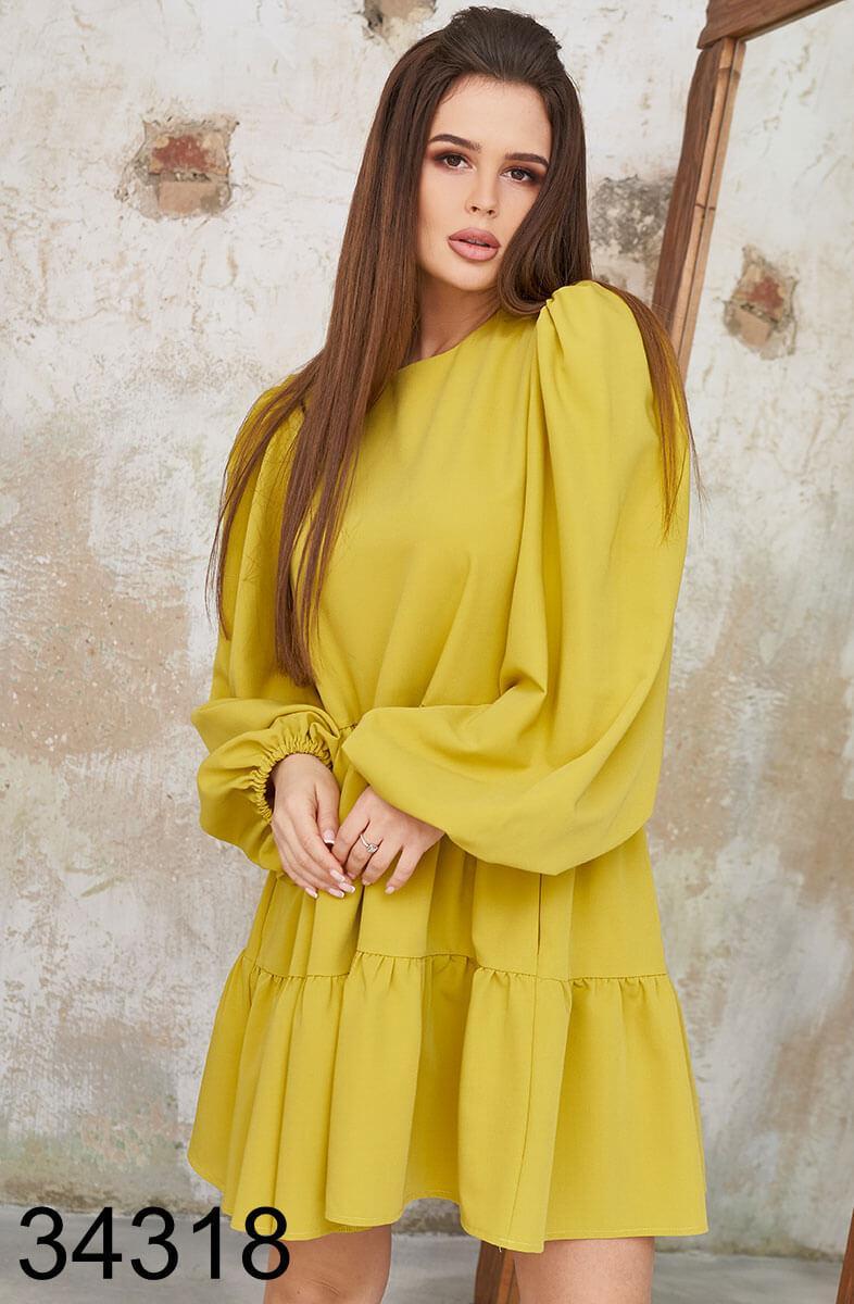 Женское свободное горчичное платье р.42,44,46