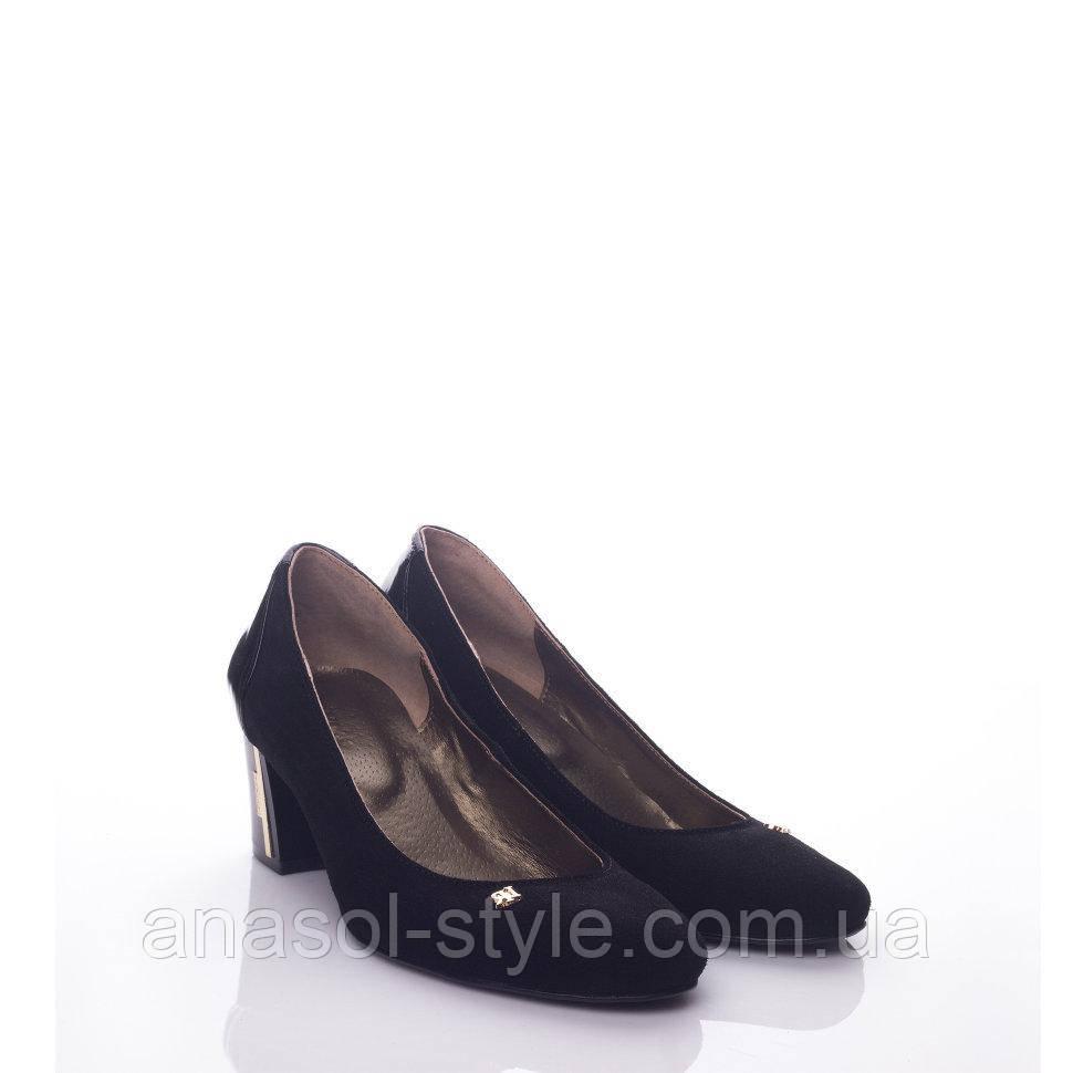 Туфли La Rose 492 37(24,6см ) Черная замша лак