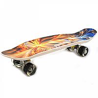 Пенни борд (скейт) с бесшумными светящимися колесами, ручка (абстракция) C-40311