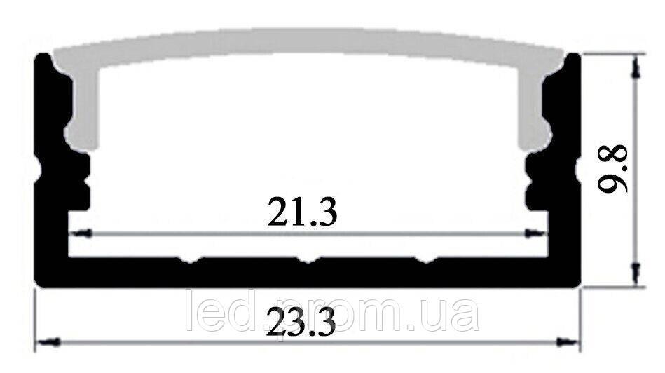 LED-профиль накладной широкий, 2 метра (ЛП23)