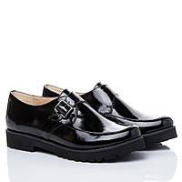 Туфли La Rose 2126 монки на ровной подошве Черный лак