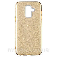 Чехол Remax Glitter Silicon Case Samsung J610 Galaxy J6 Plus Gold, фото 1