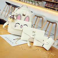 Набор рюкзак Зайчик с ушками+сумочки 4 в1 белого  цвета, фото 1