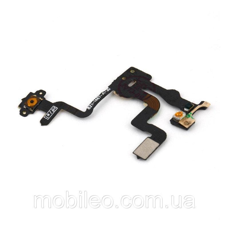 Шлейф для Apple iPhone 4s с кнопкой включения и датчиком приближения
