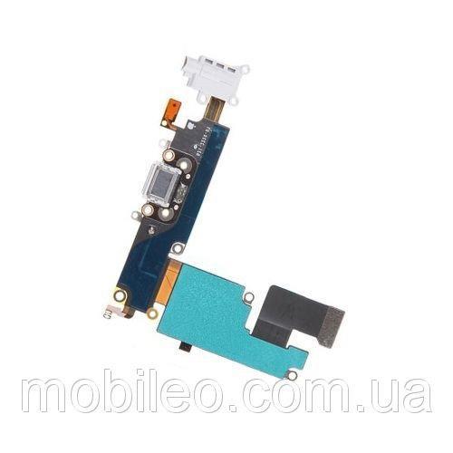 Шлейф для Apple iPhone 6 Plus с гнездом зарядки, коннектором наушников и микрофоном, белый