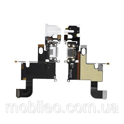 Шлейф для Apple iPhone 6 с гнездом зарядки, коннектором наушников и микрофоном, светло-серый