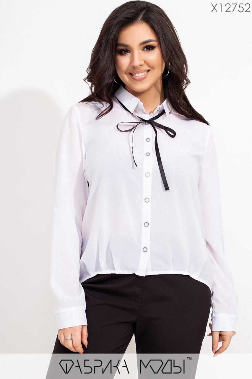 Женская шифоновая рубашка в больших размерах с бантом на воротнике 1blr607