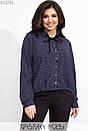 Женская шифоновая рубашка в больших размерах с бантом на воротнике 1blr607, фото 2
